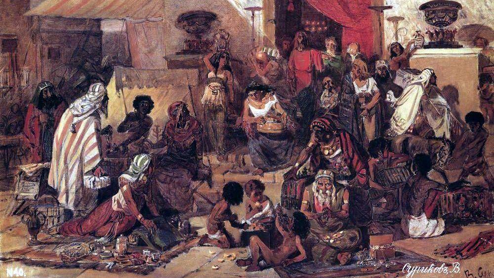 Василий  Суриков. Изгнание Христом торгующих из храма. 1873.