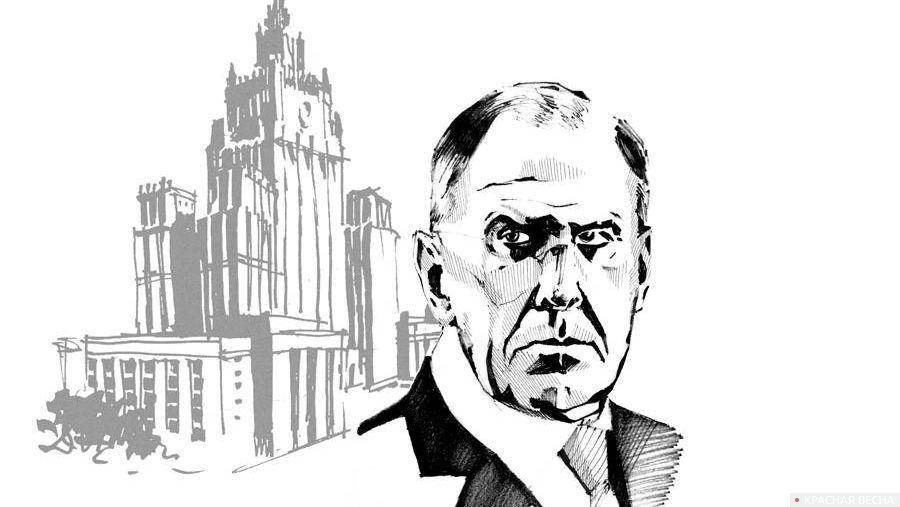 Рисунок Лавров, здание МИД
