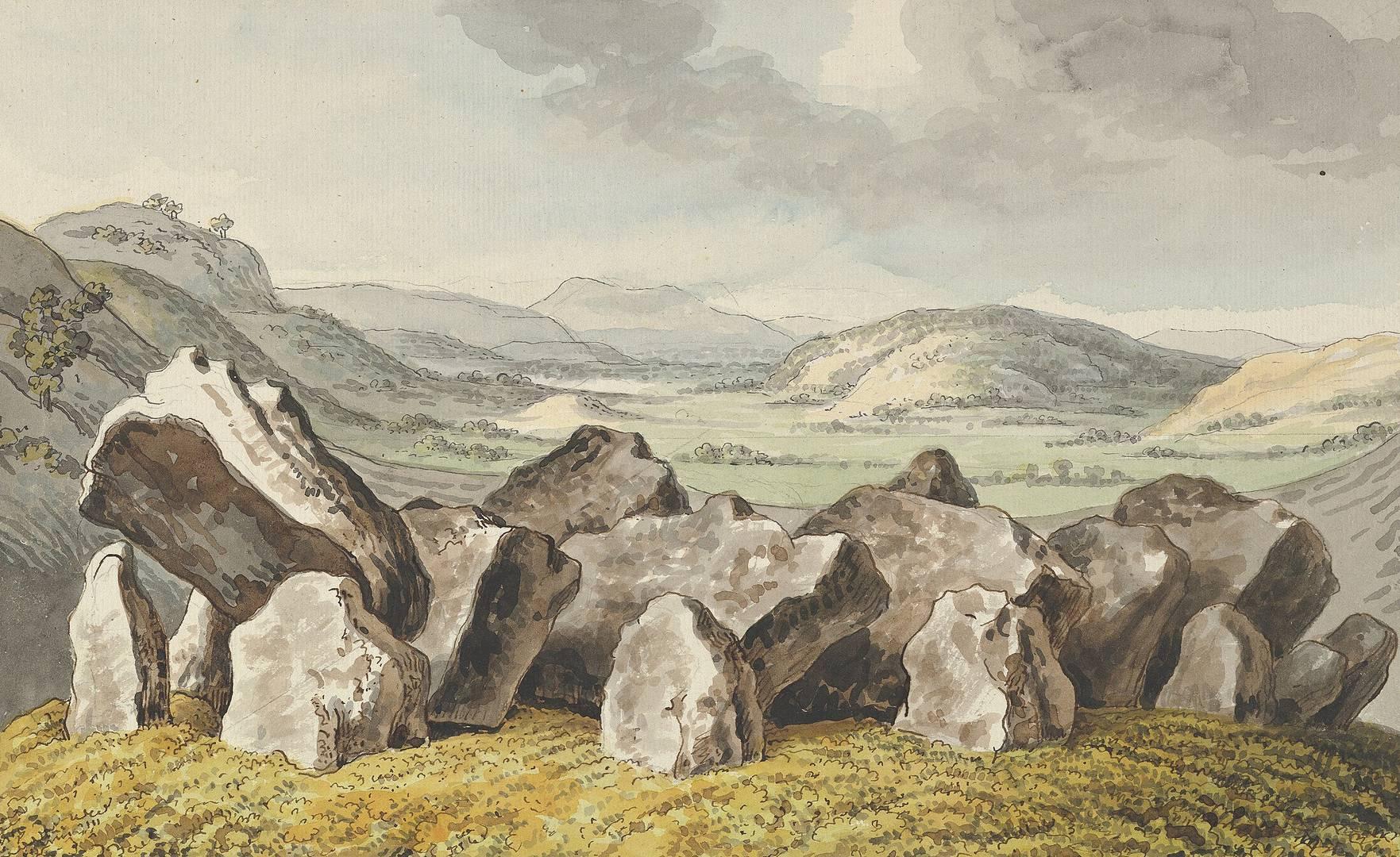 Иоганн Генрих Вильгельм Тишбейн. Доисторический каменный круг на кургане, широкий пейзаж позади. Середина XVIII — начало XIX вв.