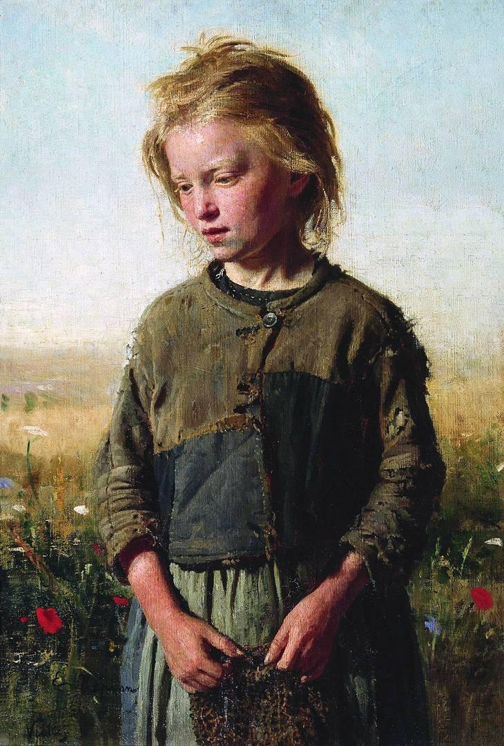Илья Репин. Девочка-рыбачка. Вёль. 1874