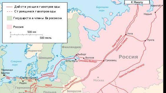 Газопровод «Северный поток-2» на карте