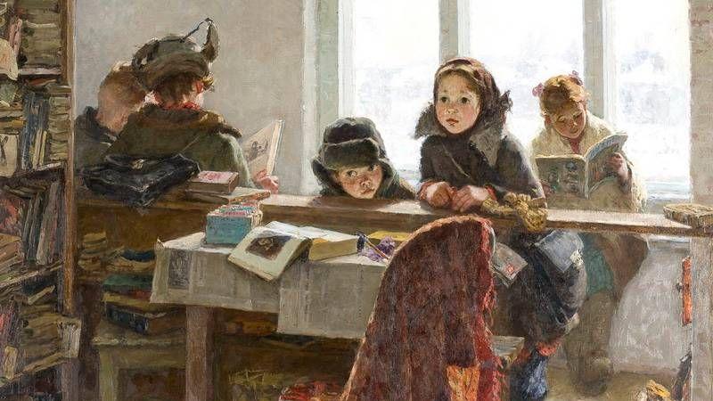 Ирина Шевандропова. В сельской библиотеке. 1954