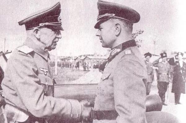Встреча нацистского генерала фон-Панвица с генералом-коллаборционистом П. Н. Красновым