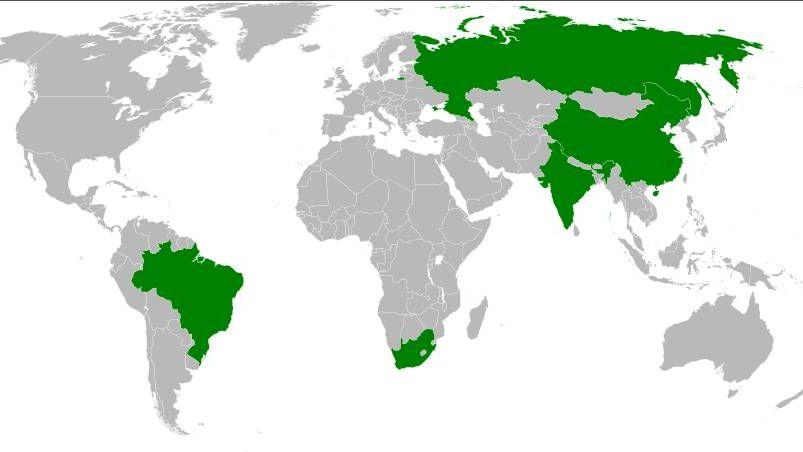 Карта стран БРИКС