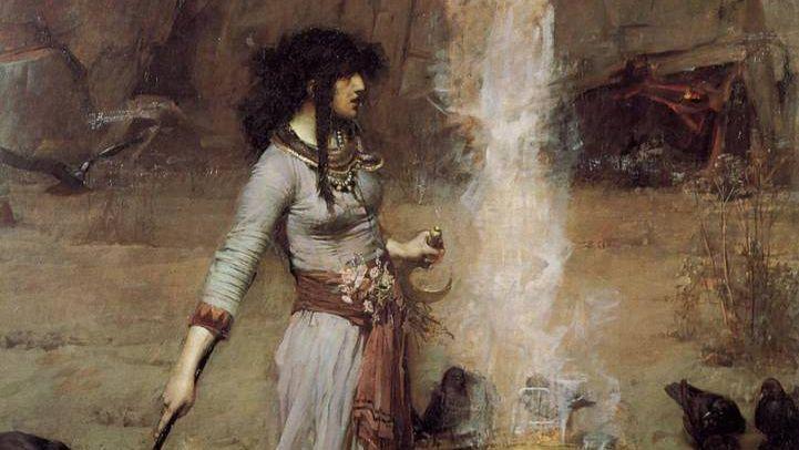 Джон Уильям Уотерхаус. «Магический круг» (фрагмент). 1886 г.