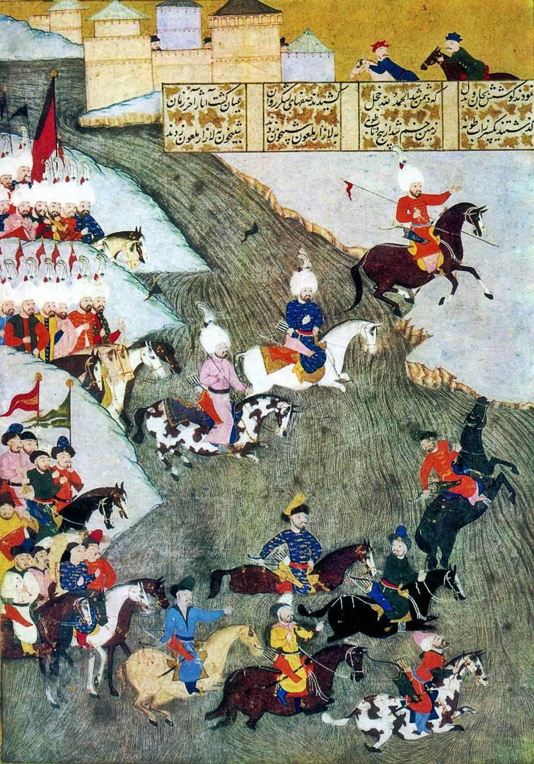 Османские войска и передовой отряд крымских татар во время Сигетварской битвы. XVI в.