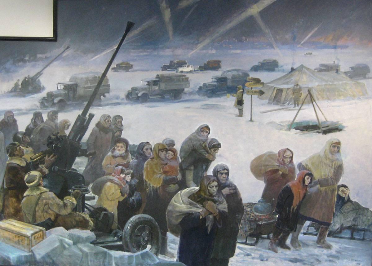 Картина из экспозиции. В.А.Печатин. Ладога — Дорога жизни. Зима 1941 г. (1975–1976)