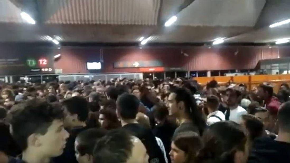 Блокада аэропорта Пратс в Барселоне 16.10.2019