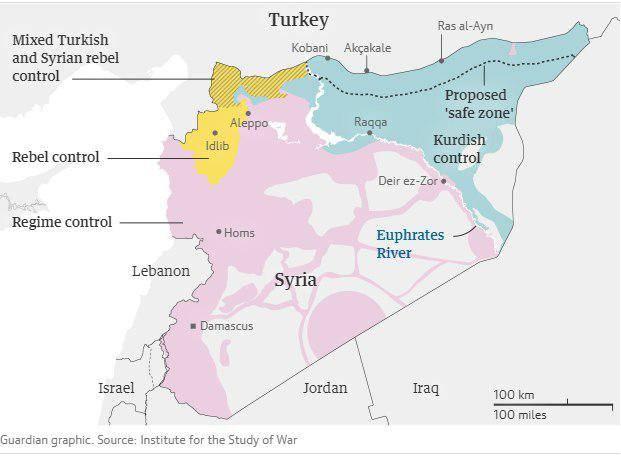 Карта Сирии с обозначением территорий под контролем сторон конфликта
