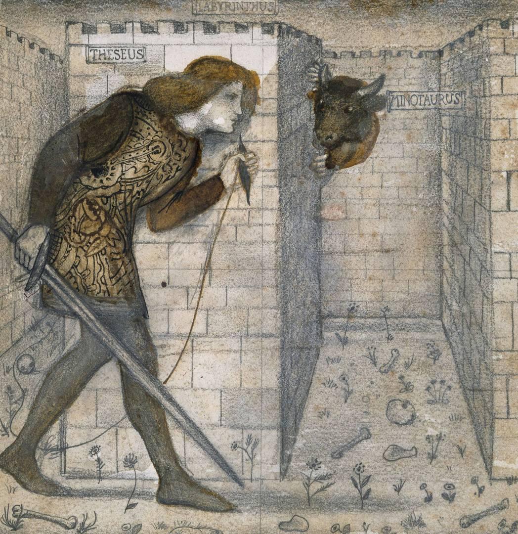 Эдвард Бёрн-Джонс. Тесей и Минотавр в Лабиринте. 1861