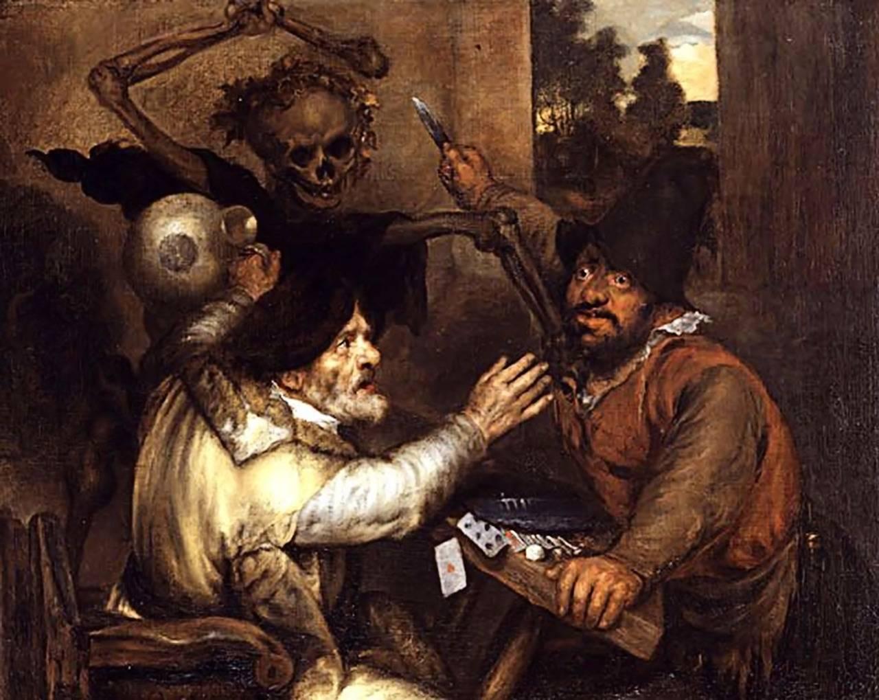 Ян Ливенс. Драка картежников и Смерть. 1638