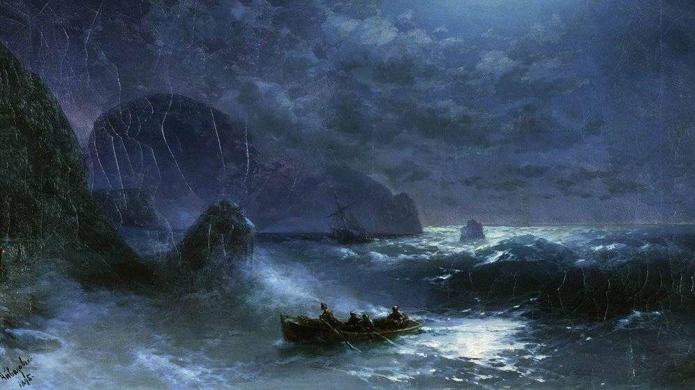 И.К. Айвазовский. Буря на море ночью. 1895 год.