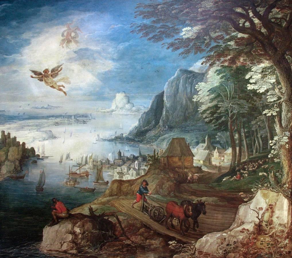Йоос де Момпер. Пейзаж с падением Икара. XV-XVI века