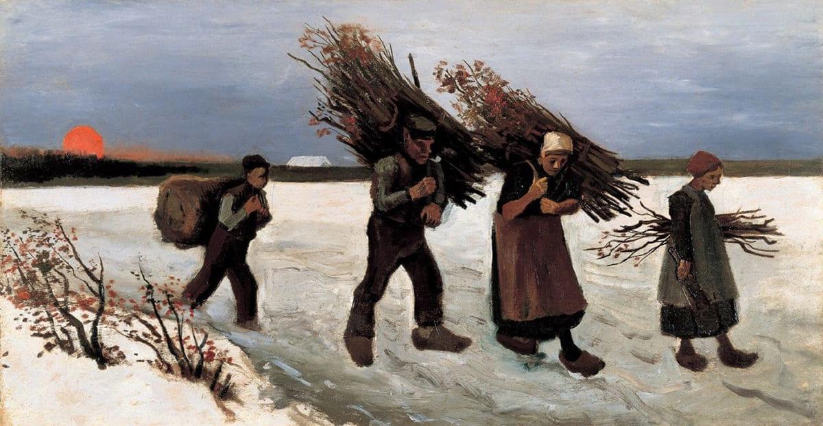 Винсент Ван Гог. Крестьяне несущие хворост и снежный пейзаж 1884