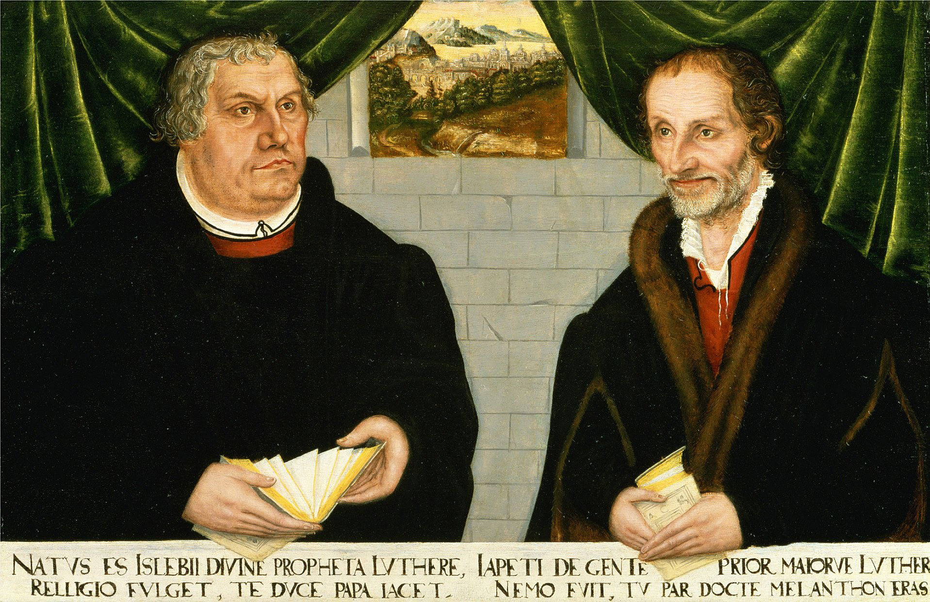 Лукас Кранах Младший. Двойной портрет Мартина Лютера и Филиппа Меланхтона. 1562