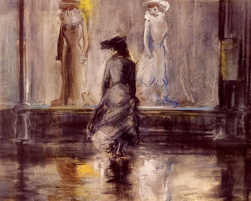 Эверетт Шинн. Рассматривание ветрин. 1903 год.