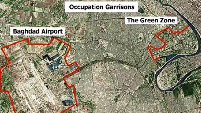 Снимок Багдада из космоса. «Зелёная зона» отмечена в правой верхней части снимка, на берегу Тигра