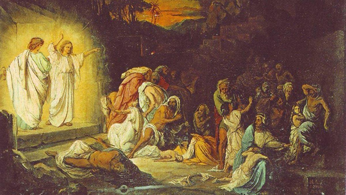 Н. Ломтев. Ангелы возвещают небесную кару Содому и Гоморре. 1845, Государственная Третьяковская галерея, Москва