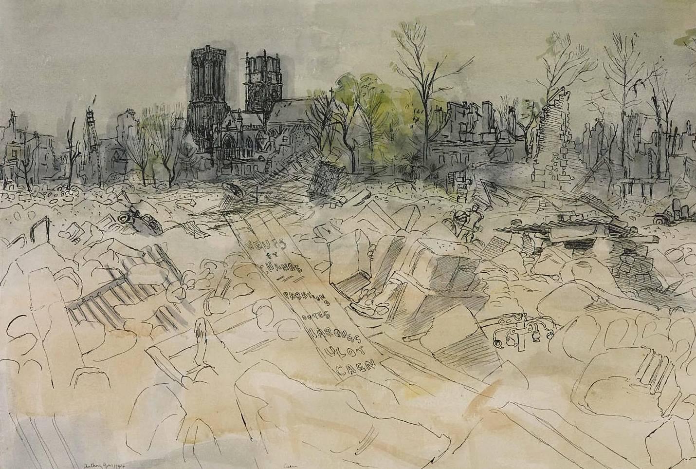 Энтони Гросс. Освобождение Франции: Церковь в развалинах Кана, Нормандия. 1944