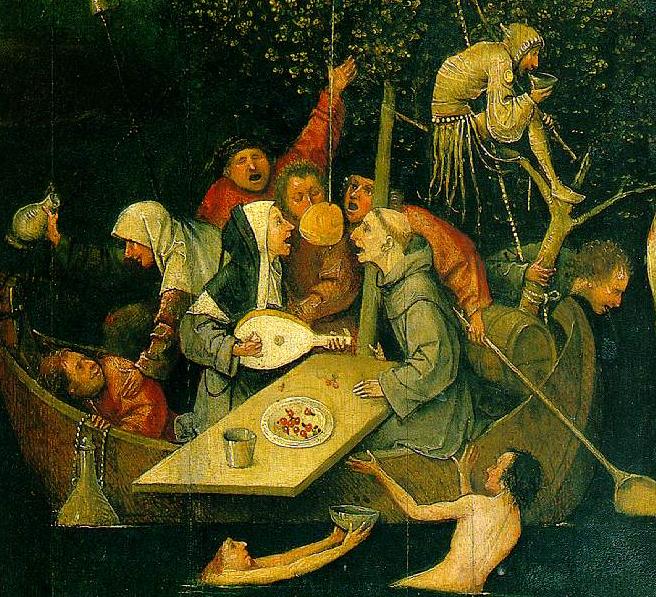 Иероним Босх. Корабль дураков 1490-1500 г. Фрагмент.