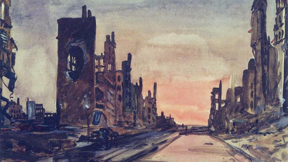 «Берлин. Франкфуртер – аллея» Александр Дейнека. 1945 год.