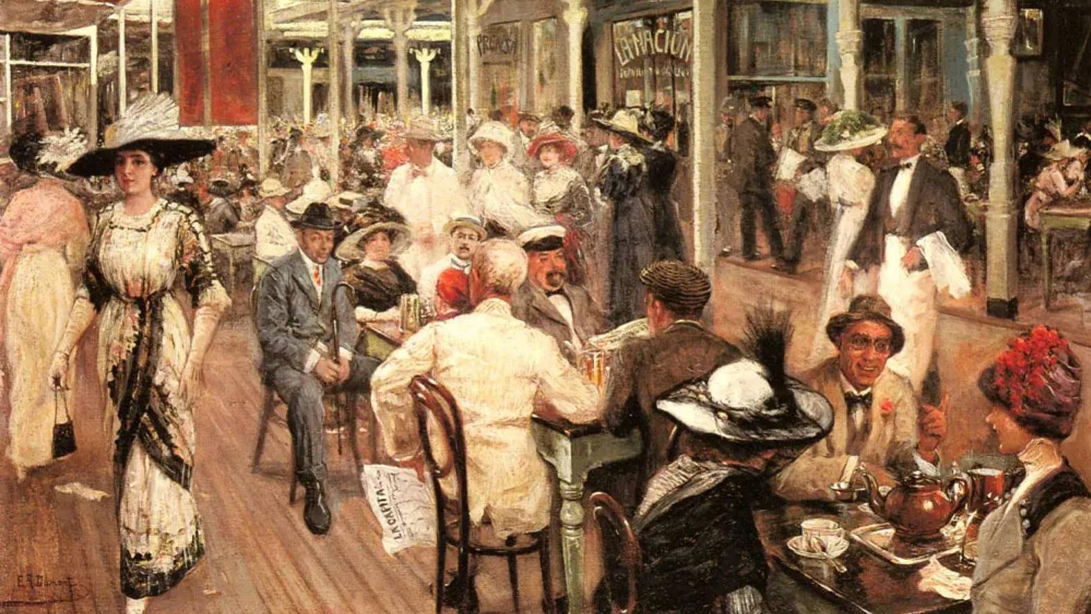 Эухенио Альварес Дюмон. В ресторане (фрагмент). 1900