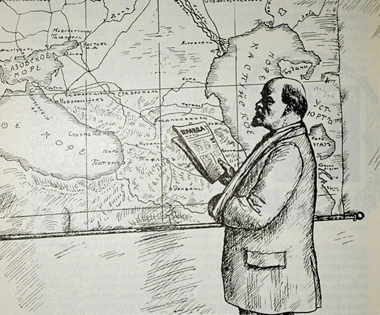 Борис Кустодиев. В. И. Ленин у карты. 1926