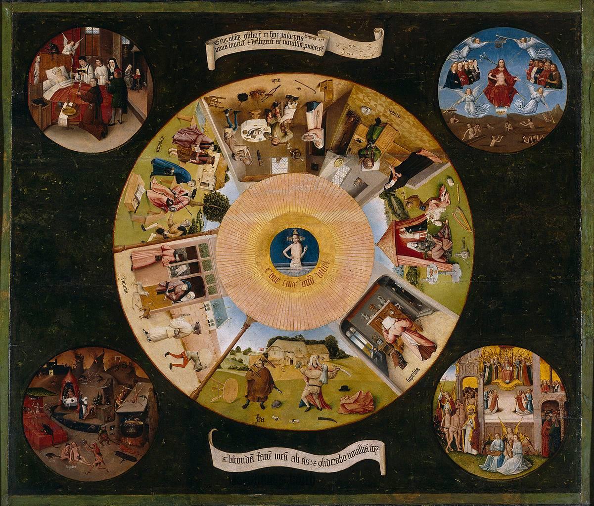 Иероним Босх. Семь смертных грехов и четыре последние вещи. 1480