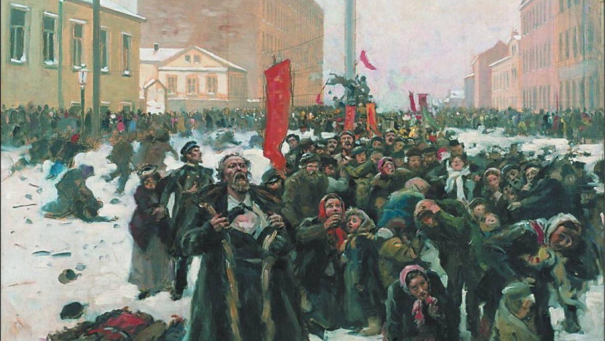 В. Маковский. 9 Января 1905 года на Васильевском острове (фрагмент). 1905