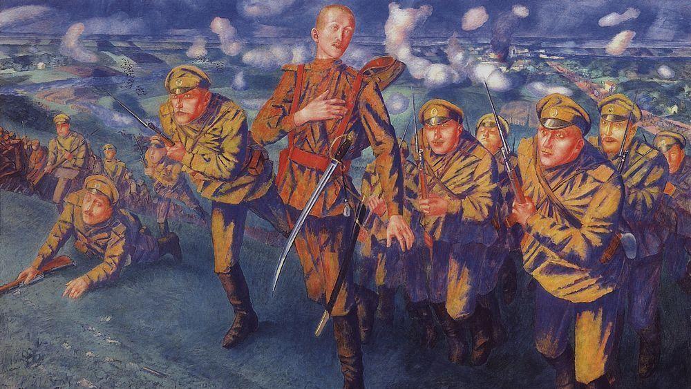 Кузьма Петров-Водкин. На линии огня. 1916 (фрагмент)
