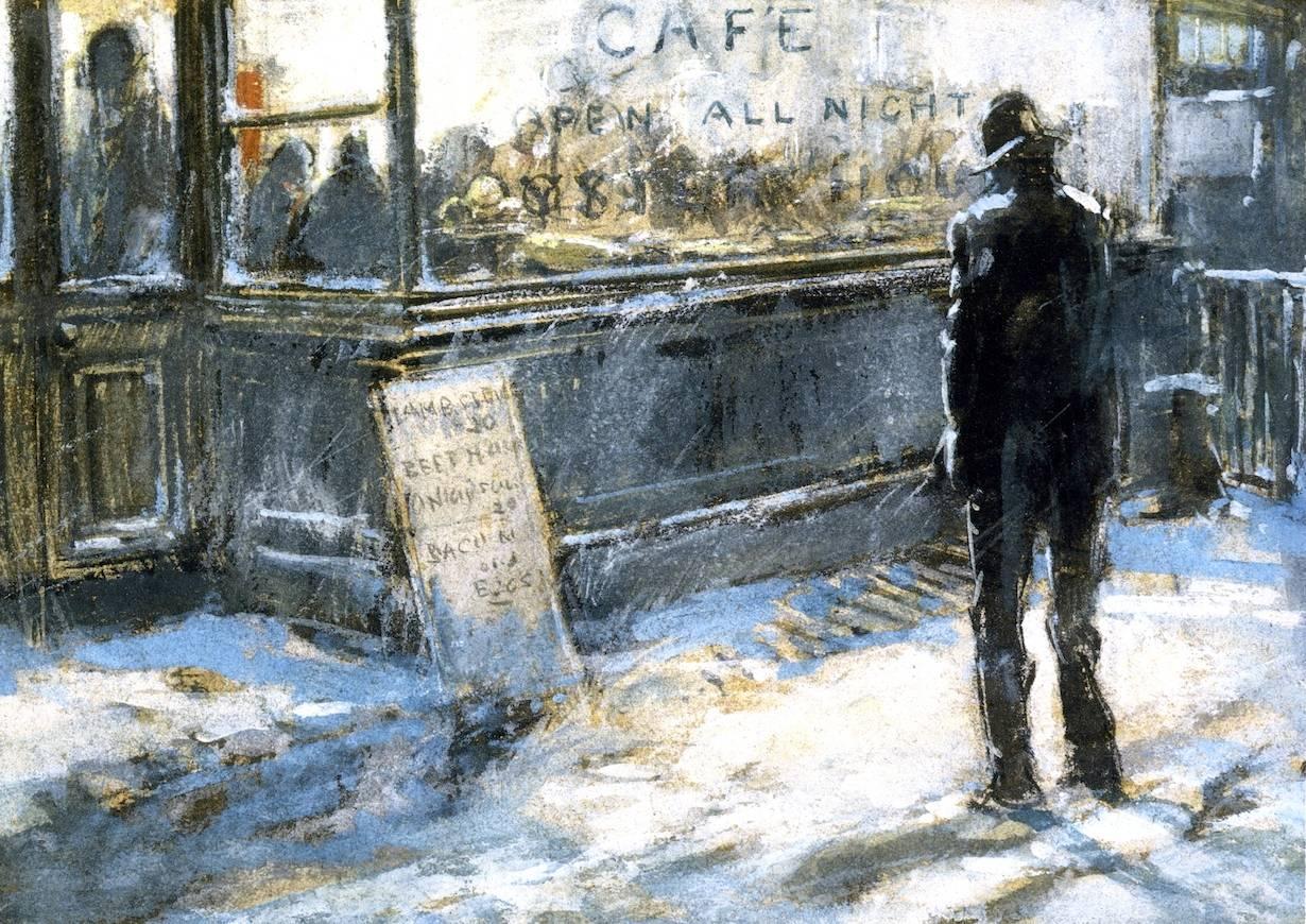 Эверетт Шинн. Круглосуточное кафе. 1900