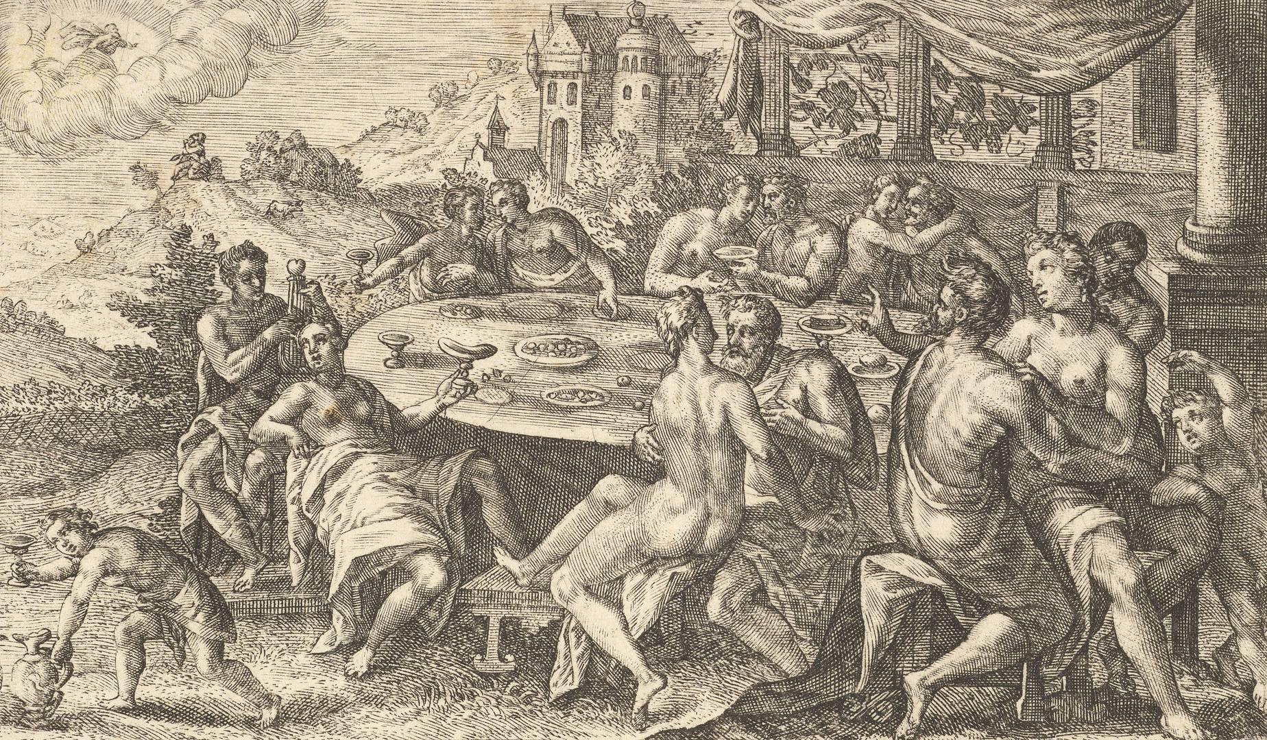 Криспин ван де Пасс Старший. Люди предаются распутству перед потопом. 1612