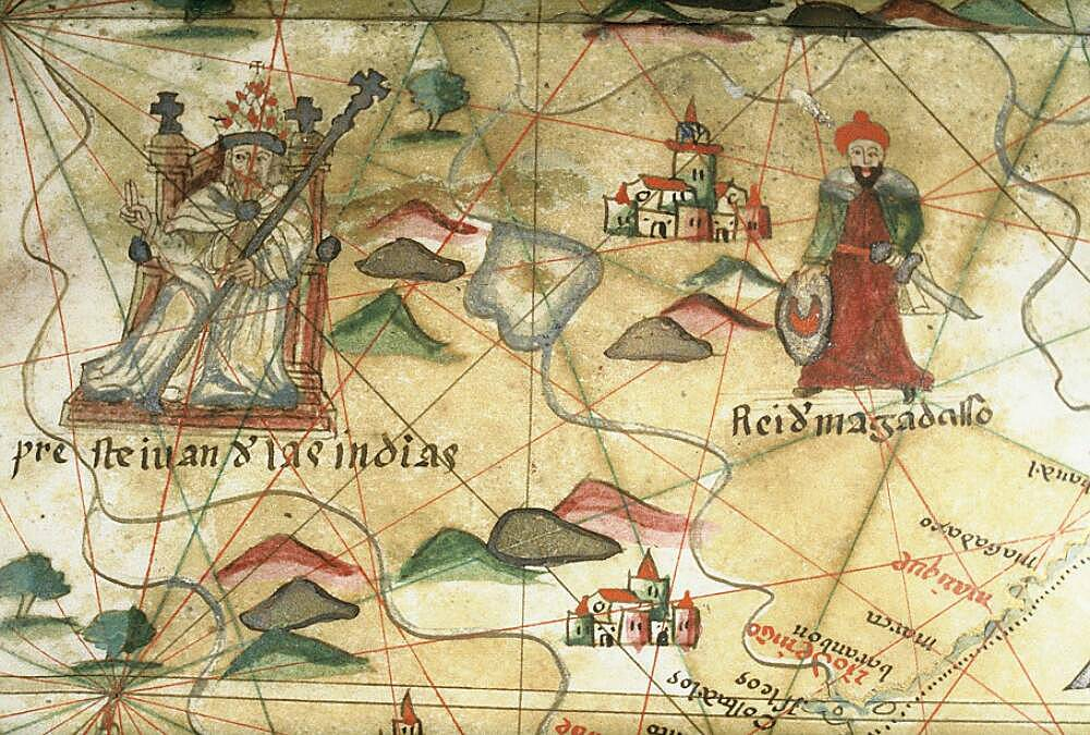 Пресвитер Иоанн на портулане конца XVI в.