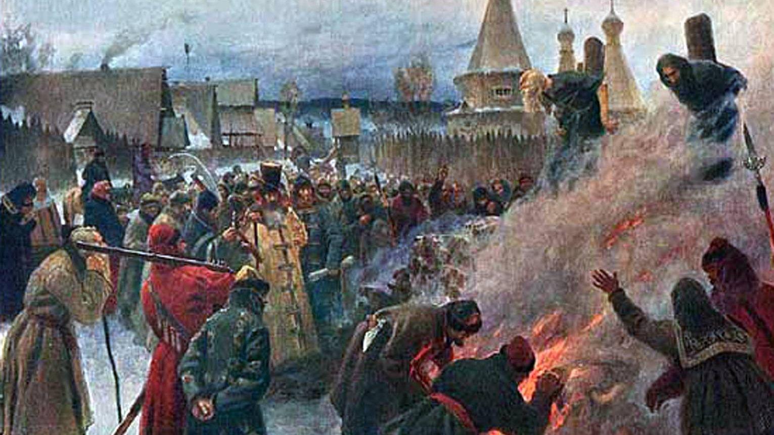 Григорий Мясоедов. Сожжение протопопа Аввакума (фрагмент). 1897