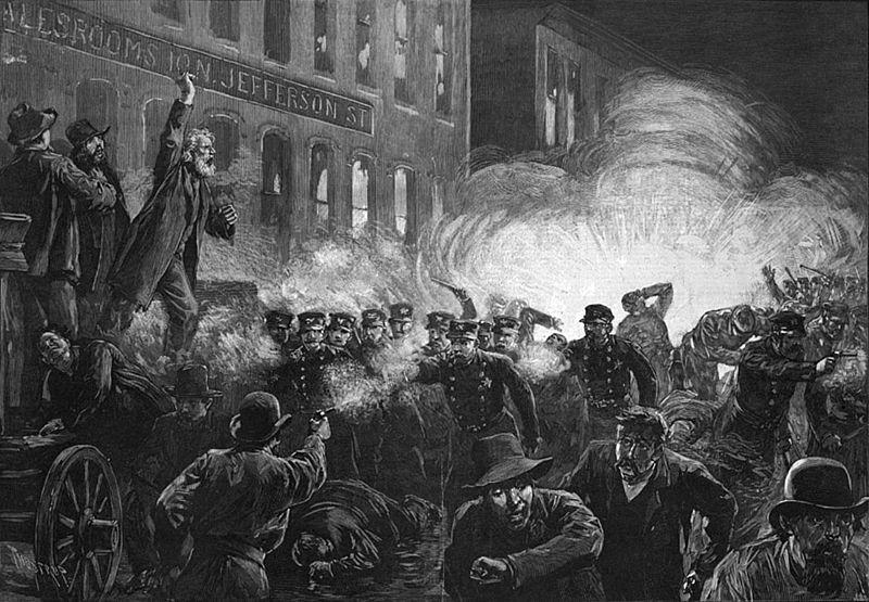 Столкновение на Хеймаркет-сквер. Гравюра 1886.