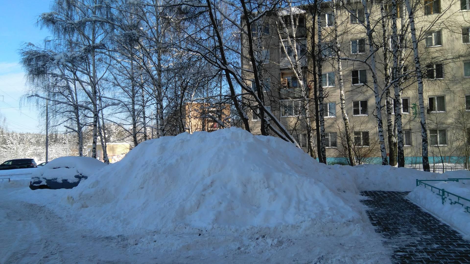 Пироговский, куча снега во дворе