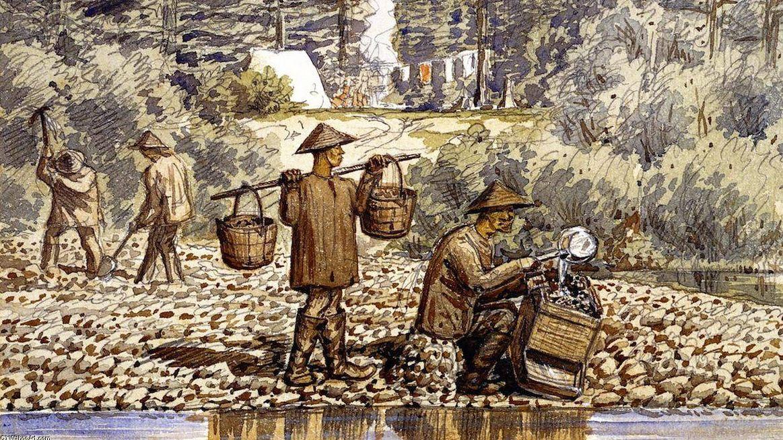 Уильям Джордж Ричардсон Хайнд. Китайские мойщики золота на реке Фрейзер. 1850