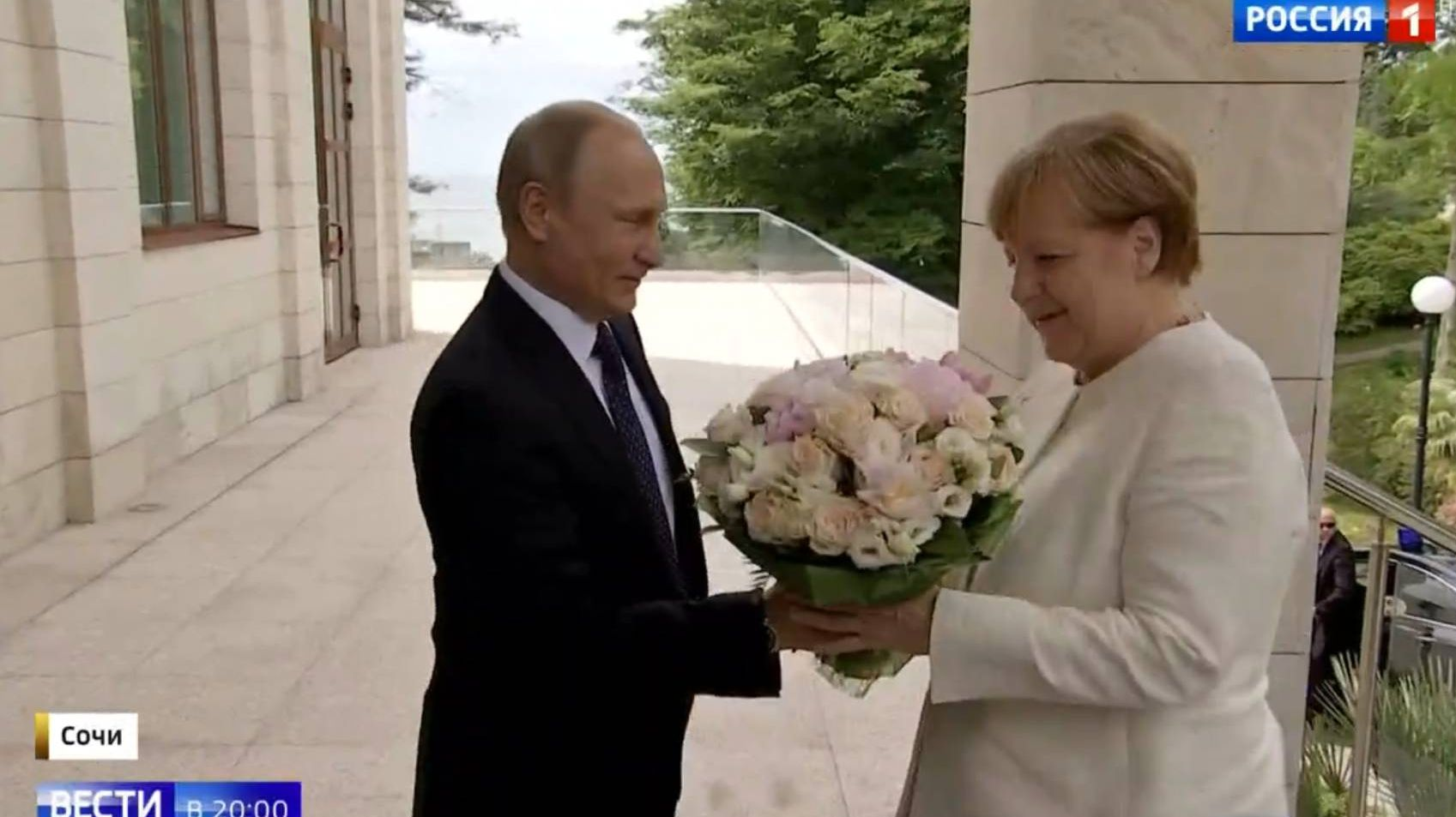 Путин и Меркель Цитата. Вести. ТВ Россия1