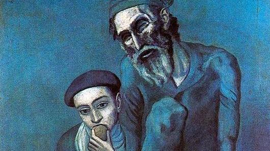 Пабло Пикассо. Нищий старик с мальчиком. 1903