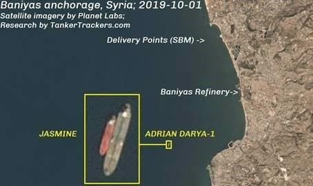 Иранский танкер «Адриан Дарья 1» (бывший «Грейс 1») на якорной стоянке у сирийского побережья сгружает нефть на танкер «Жасмин»