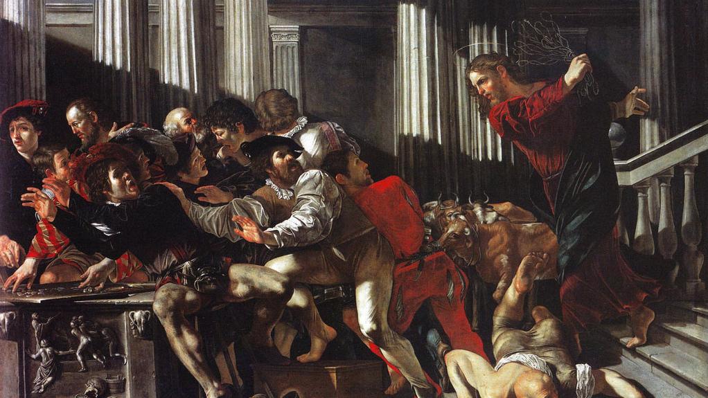 Франческо Бонери. Христос, изгоняющий торговцев. 1615