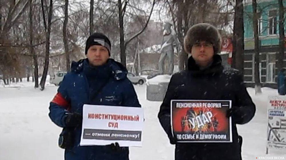 Пикет против пенсионной реформы в Глазове. 03.01.2019
