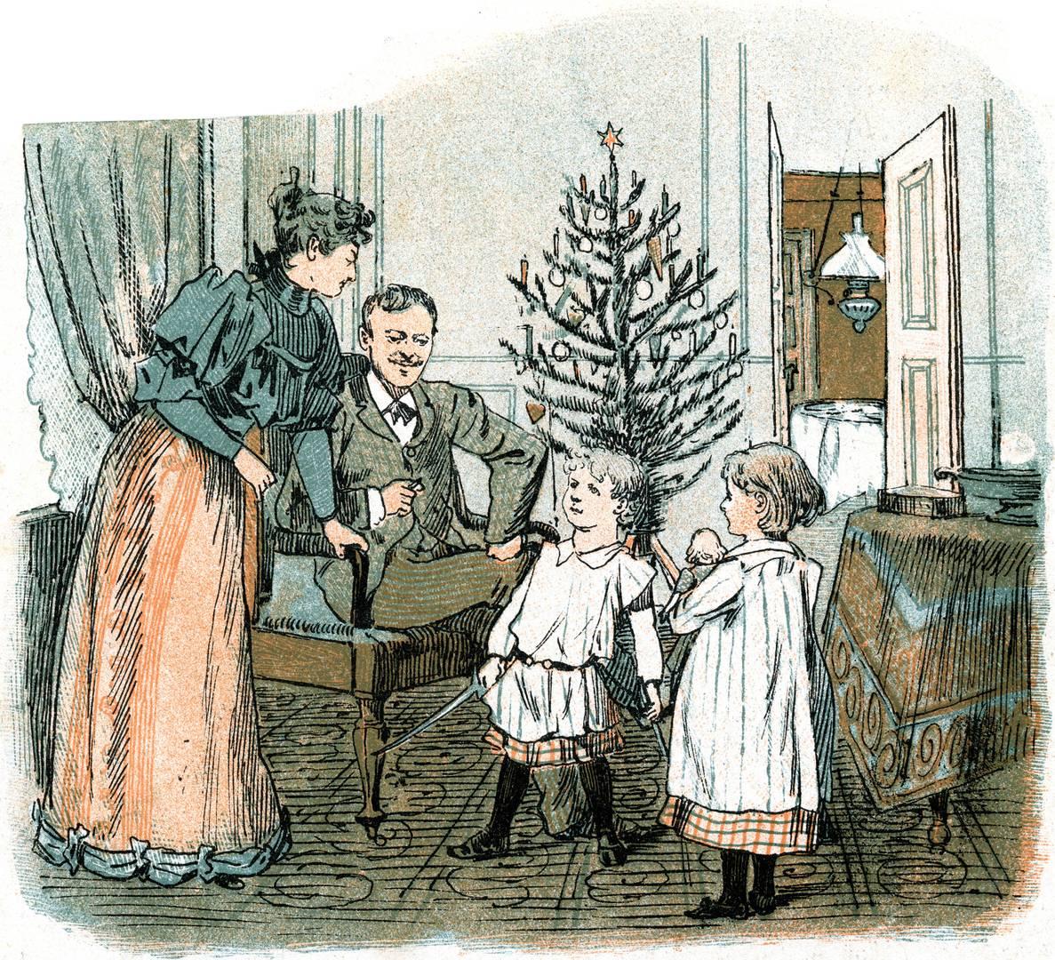Журнал Punch (Дания) № 52. «Мама, папа дал мне настоящую саблю! Теперь ты купишь мне врага?». 29 декабря 1892 года