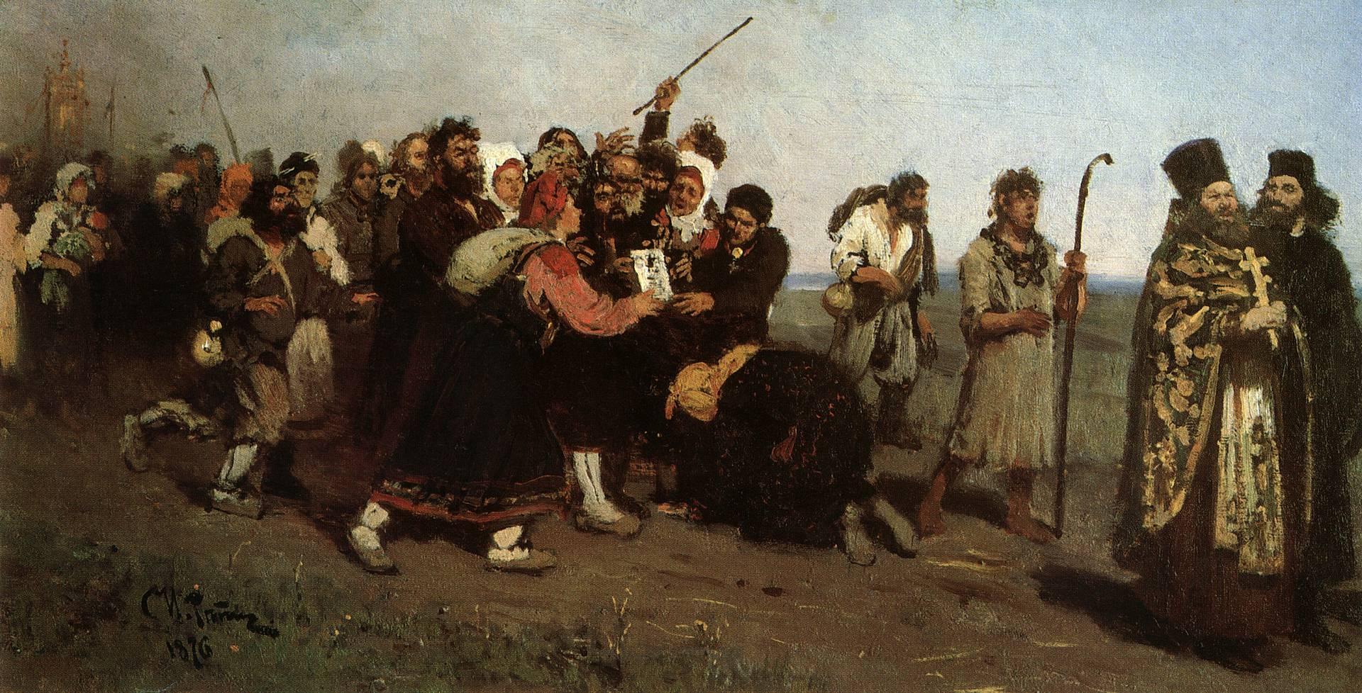 Илья Репин. Крестный ход (эскиз). 1877