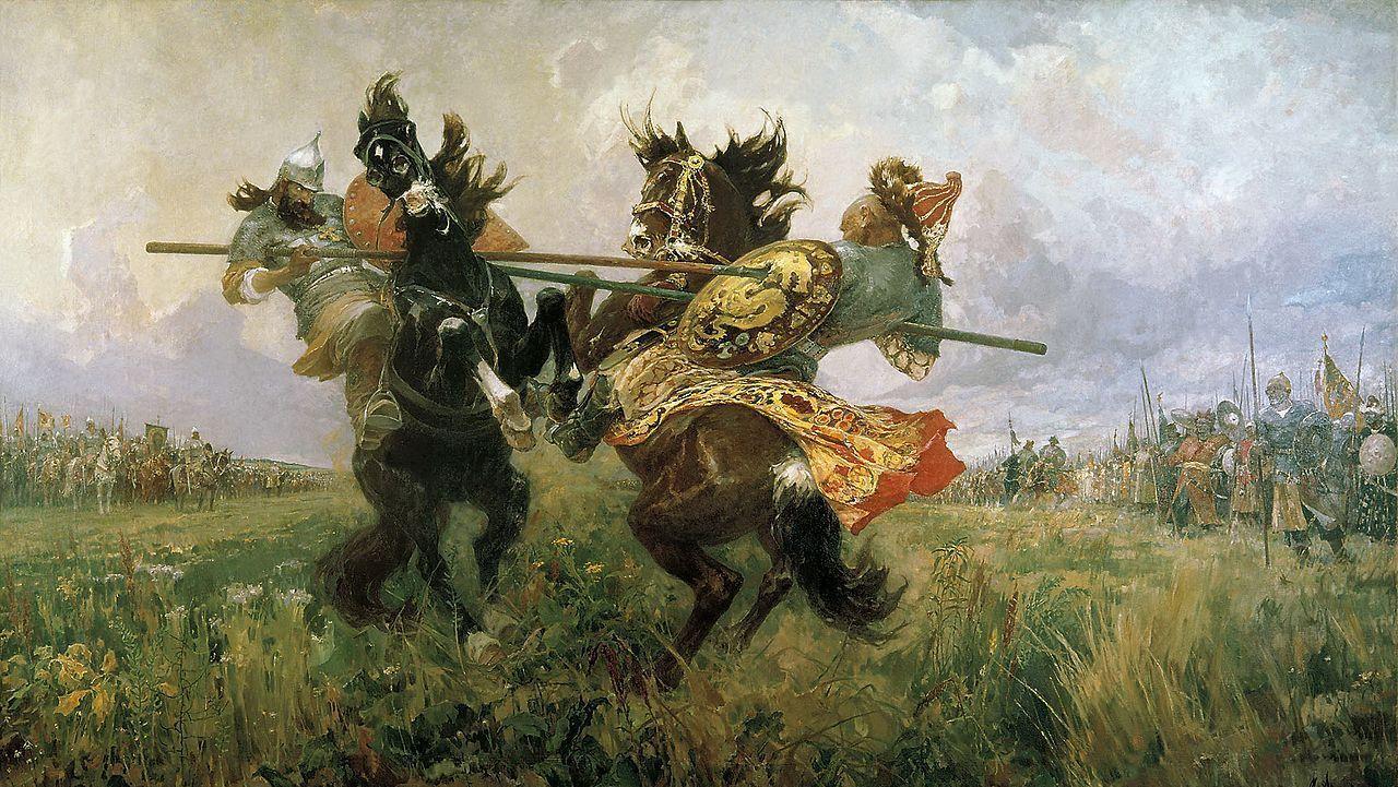 М.И. Авилов. Поединок Пересвета с Челубеем на Куликовом поле. 1943 г.