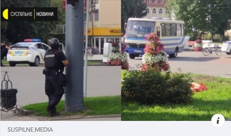 На месте захвата заложников в Луцке появилась бронетехника