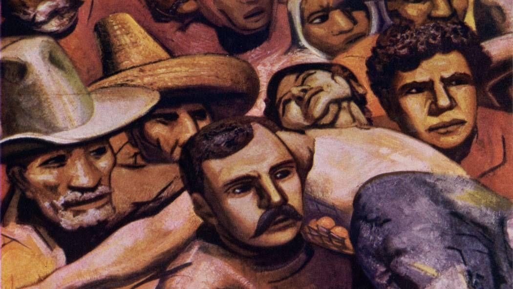 Давид Альфаро Сикейрос. Забастовка (фрагмент фрески). 1945