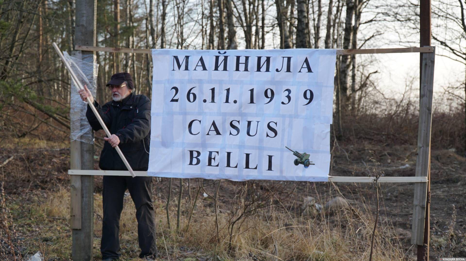Историк Евгений Балашов монтирует баннер возле Выборгского шоссе. Ленобласть. Майнило. 23.11.2019