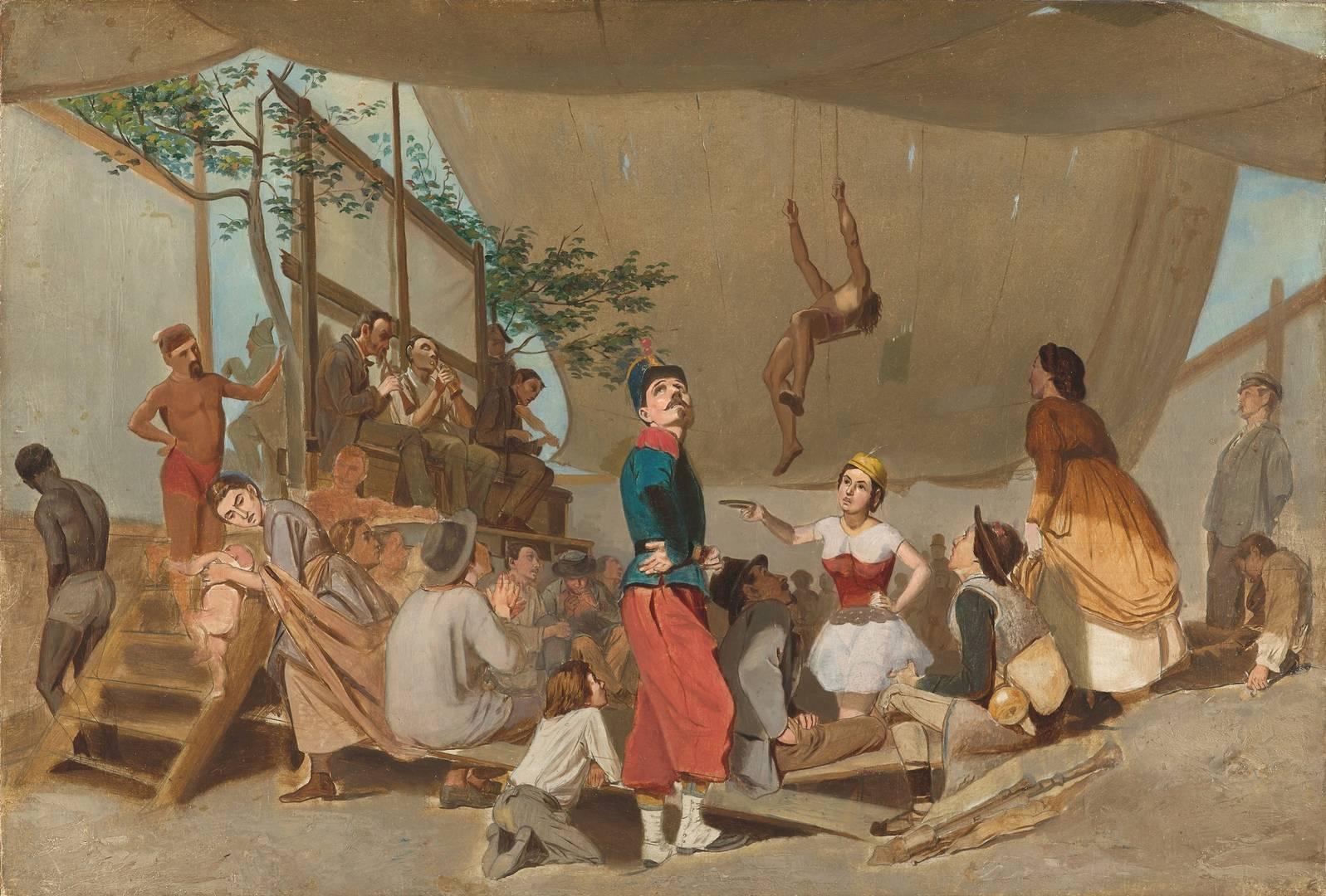 Василий Перов. Парижское гулянье, внутри балагана. 1864