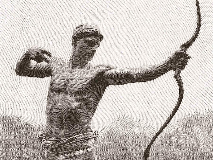 Рисунок по скульптуре «Тевкр» Амо Торникрофта созданной в 1881 году